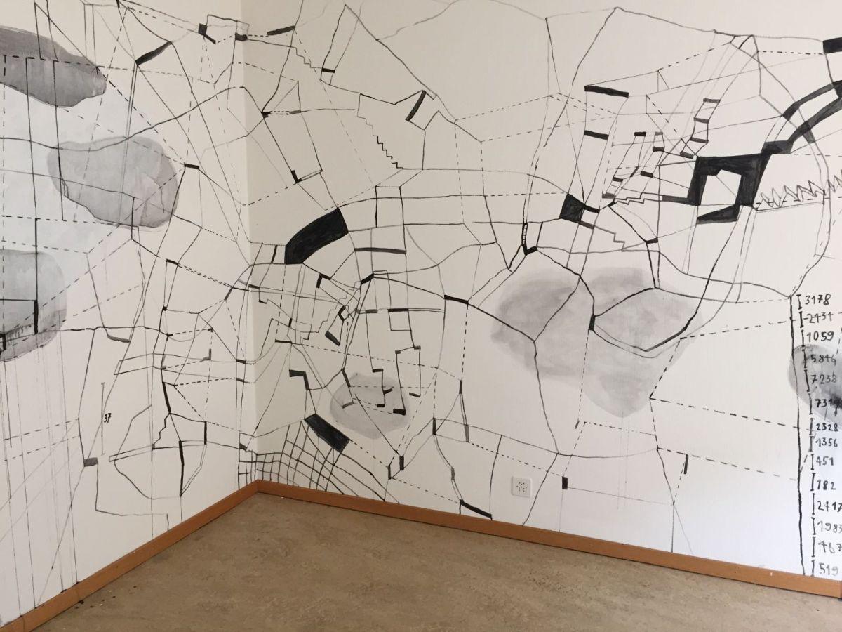 Arbeit auf Wand, 2015, Acryl, ca. 250 x 600 cm - Abbruchhaus Himmelrich Luzern