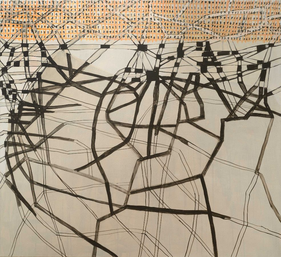 ohne Titel, 2013, Acryl, Perlmutt, Lack auf Baumwolle, 110 x 120 cm