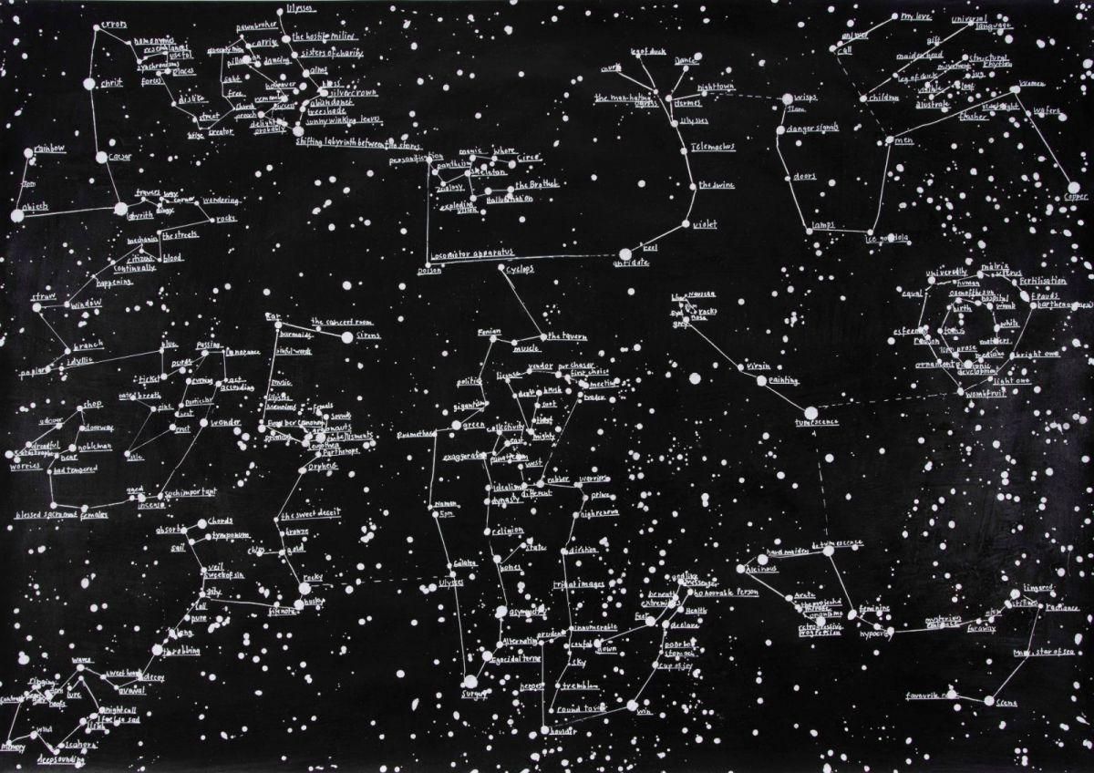 Ulysses, 2015, Wachs, Tusche, Acryl, Lack auf Papier, 70 x 100 cm