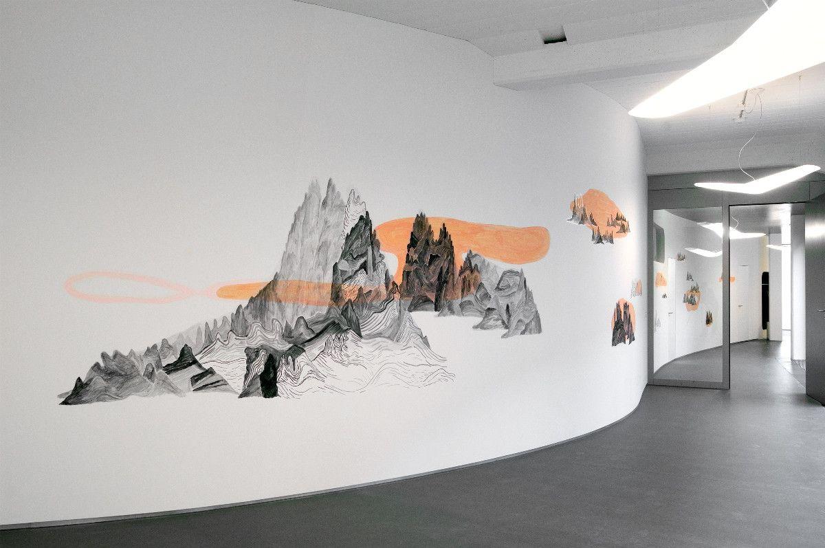 Reise, 2008, Wandarbeit, Acryl auf Dispersion, 3.50 x 33 m - Gesundheitspraxis Altdorf