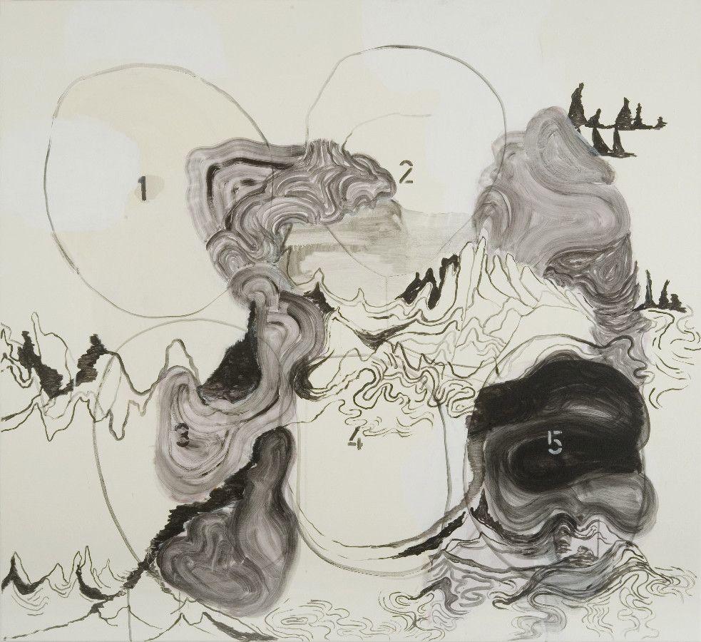 Delta 6, 2008, Acryl und Lack auf Baumwolle, 168 x 180 cm