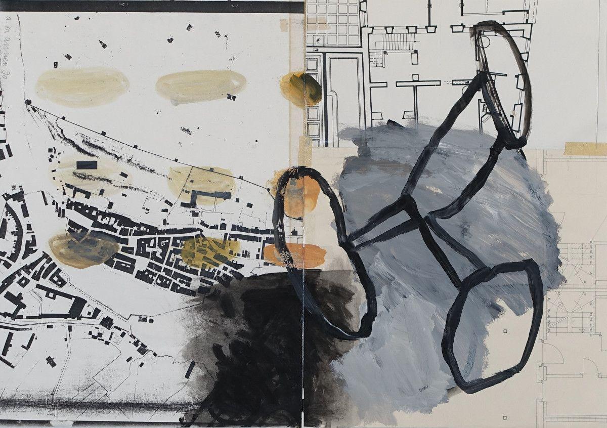 überarbeiteter Architekturplan, 1990, Öl auf Architekturplan, ca. 50 x 70 cm