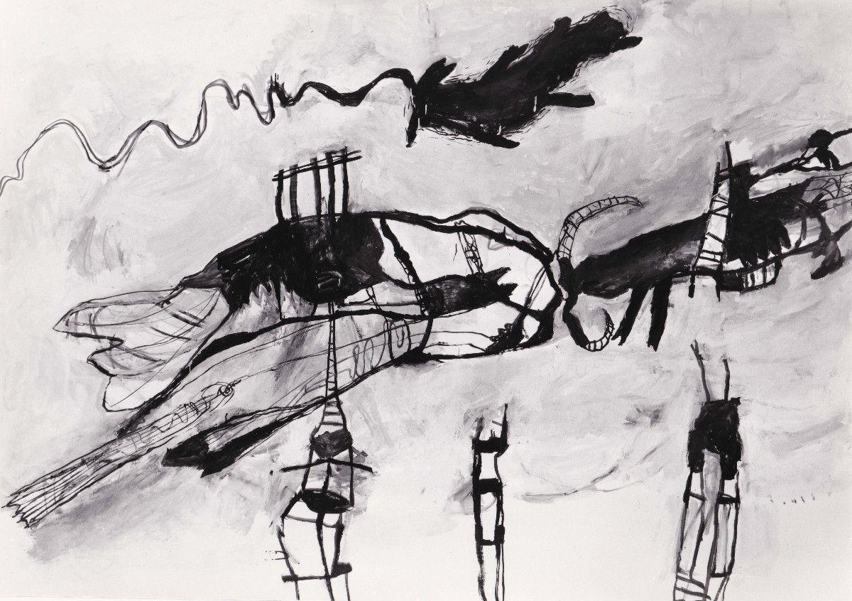 ohne Titel, 1989, Öl auf Baumwolle, 150 x 210 cm